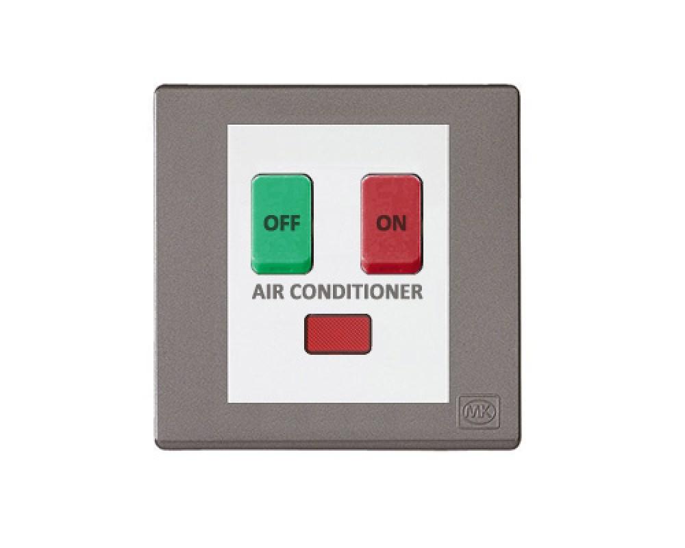 MK 雅韻 系列 神秘黑 standard rocker 霓虹燈開關掣(註: 'AIR CONDITIONER') 10A 2按鍵 1路