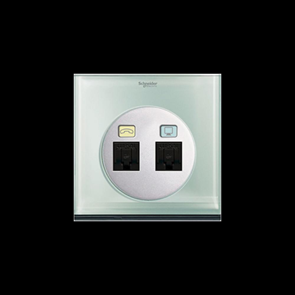 Schneider ULTI Crystal Glass Phone and Data Socket swi100106