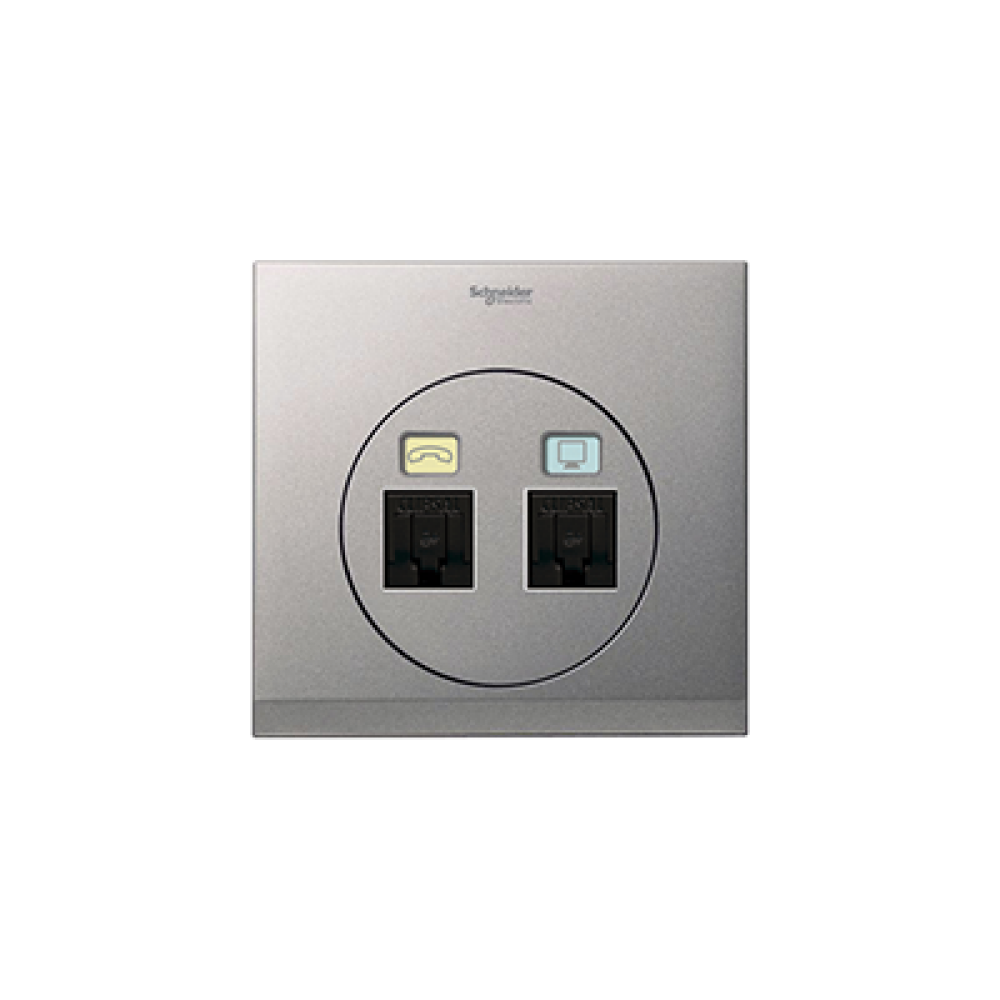 Schneider ULTI Brushed Silver Phone and Data Socket swi100126