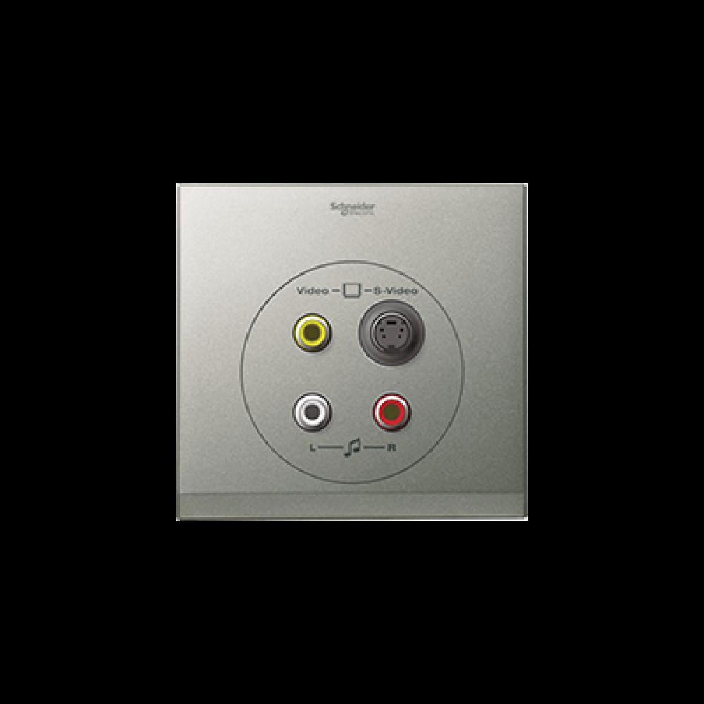 Schneider ULTI Brushed Silver S-Video-RCA Socket swi100128