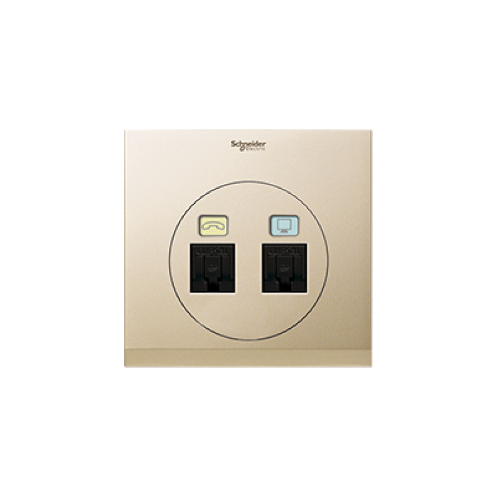 Schneider ULTI Champagne Gold Phone and Data Socket swi100116