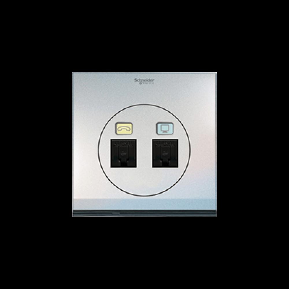 Schneider ULTI Pearl White Phone and Data Socket swi100136