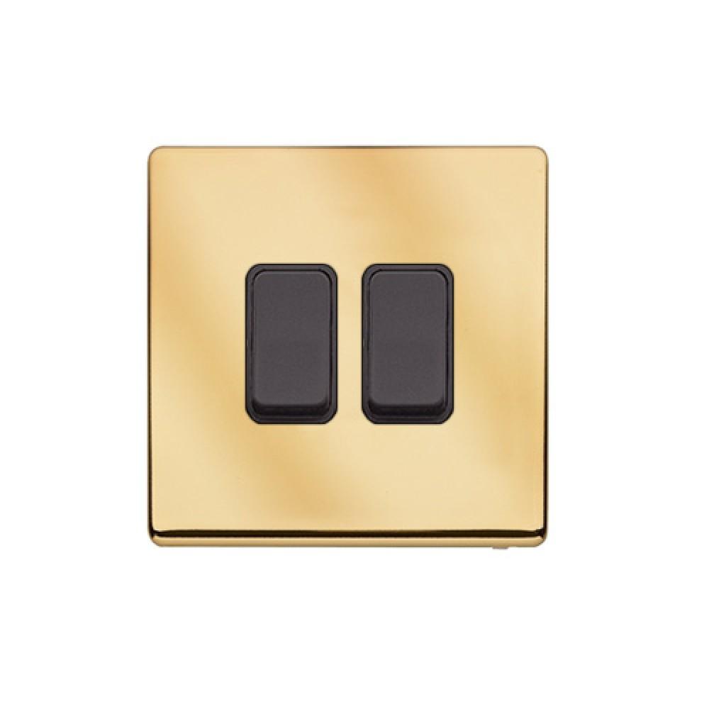 MK 雅栢 鋼面金色 塑料回彈按鈕 10A 雙控 2位 *B
