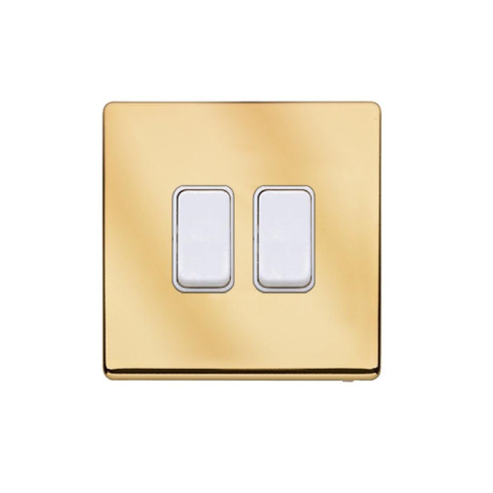MK 雅栢 鋼面金色 塑料回彈按鈕 10A 雙控 2位 *W