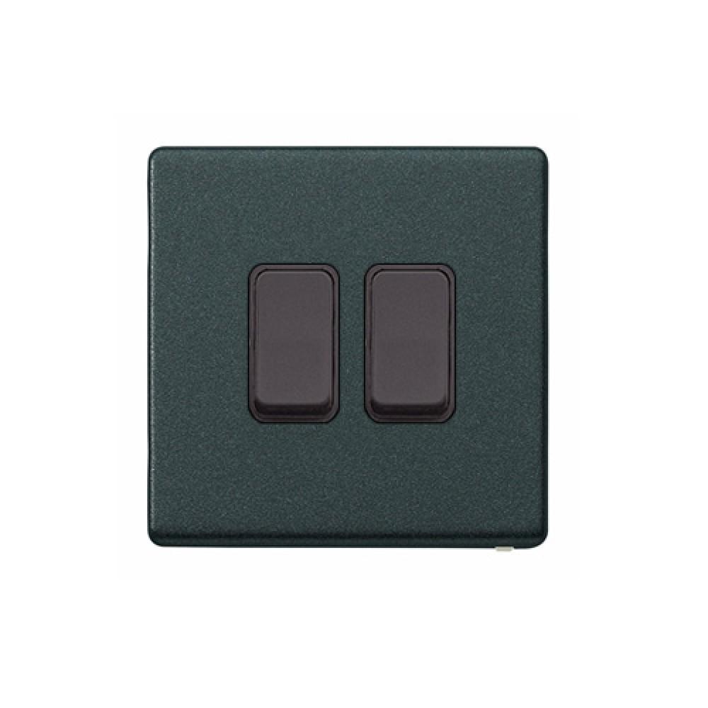 MK 雅栢 光澤黑色 塑料回彈按鈕 10A 雙控 2位 *B