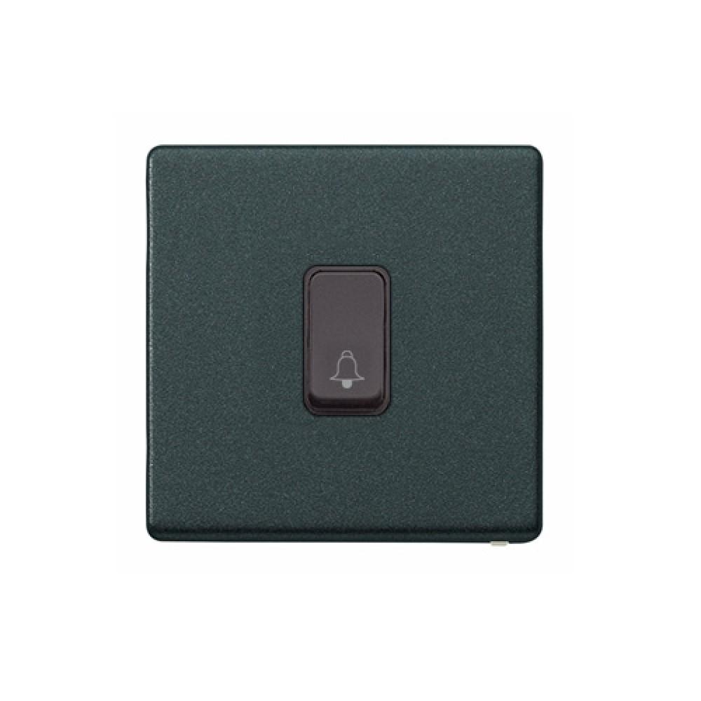 MK 雅栢 光澤黑色 塑料門鐘回彈按鈕(註:BELL符號) 10A *B