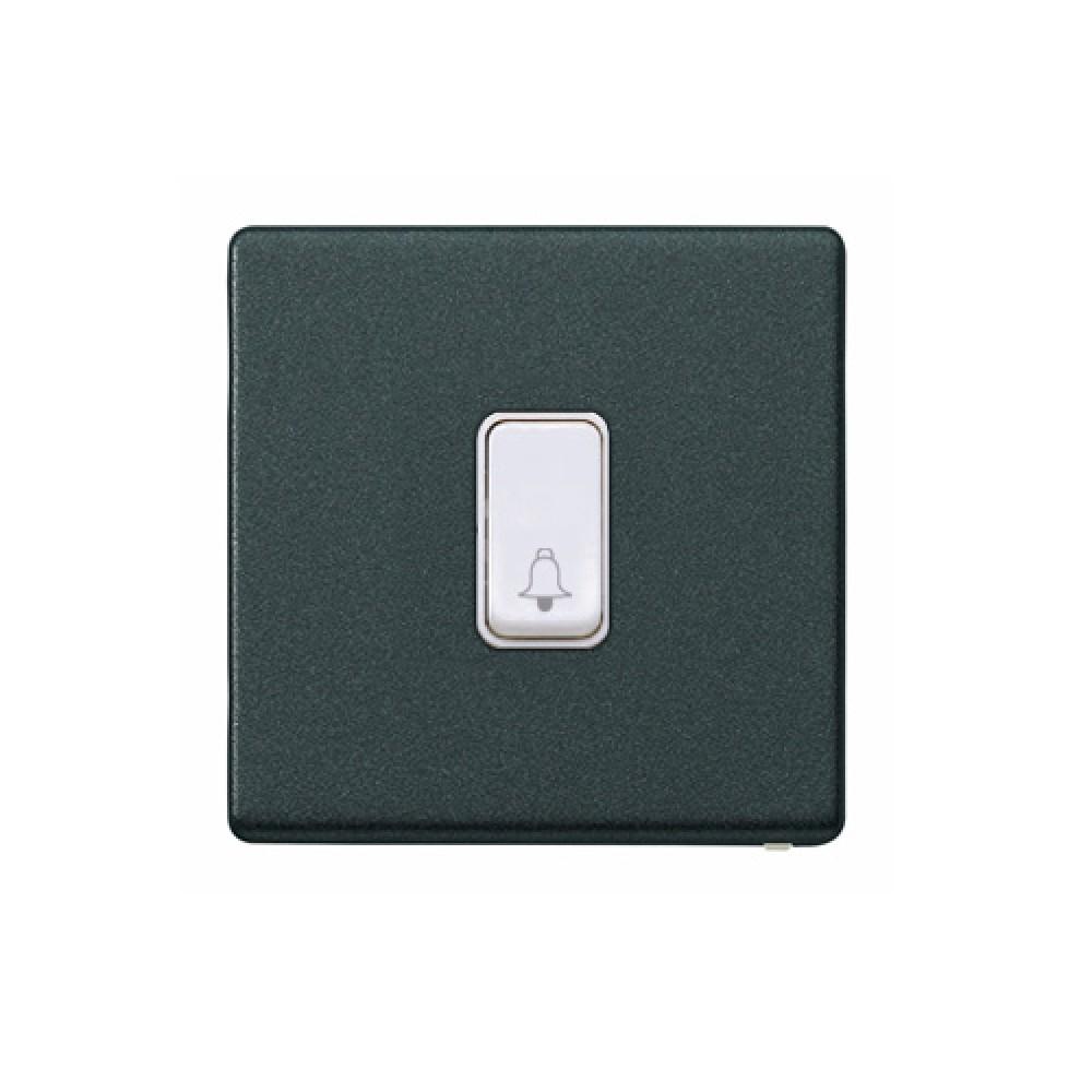 MK 雅栢 光澤黑色 塑料門鐘回彈按鈕(註:BELL符號) 10A *W