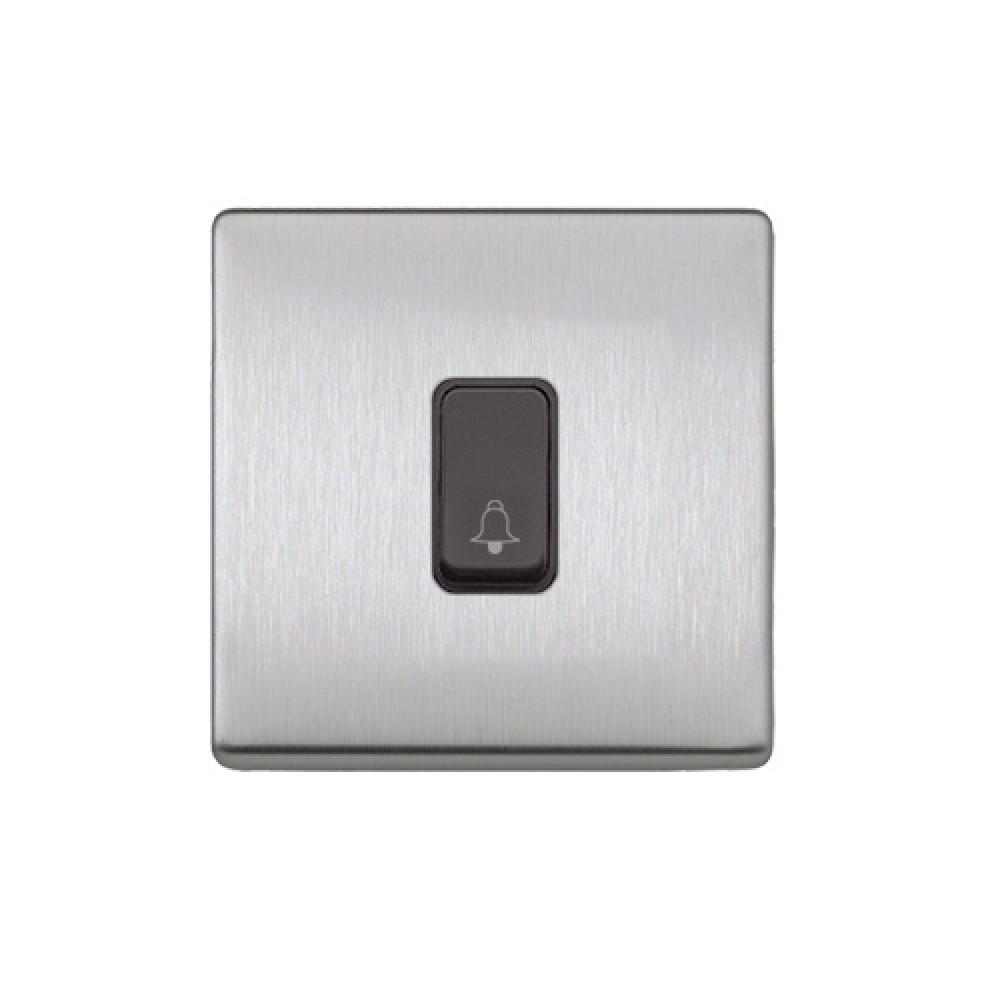 MK 雅栢 噴漆磨砂鋼 塑料門鐘回彈按鈕(註:BELL符號) 10A *B