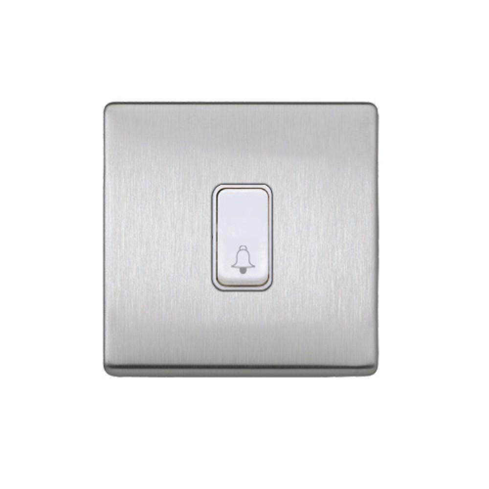 MK 雅栢 噴漆磨砂鋼 塑料門鐘回彈按鈕(註:BELL符號) 10A *W