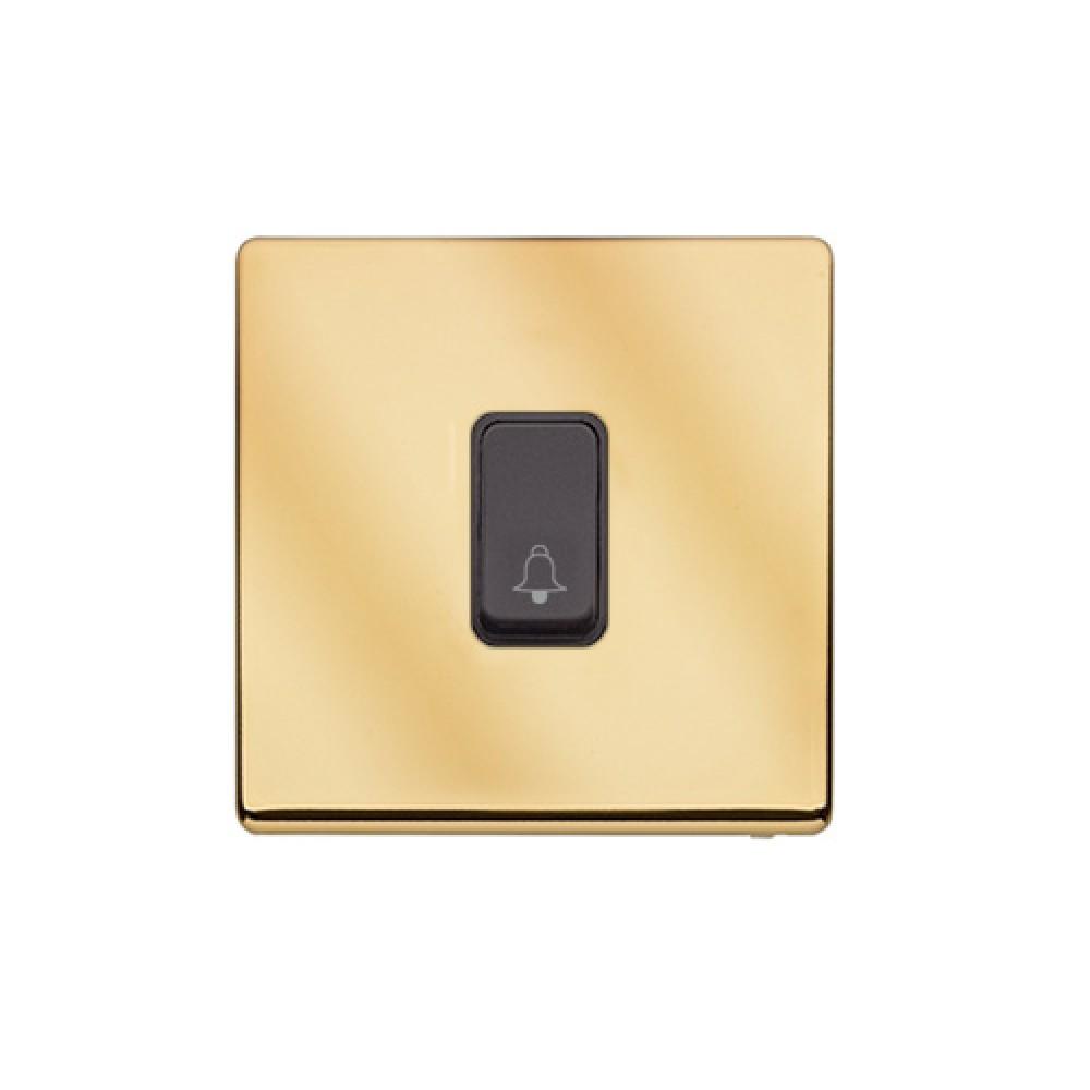 MK 雅栢 鋼面金色 塑料門鐘回彈按鈕(註:BELL符號) 10A *B