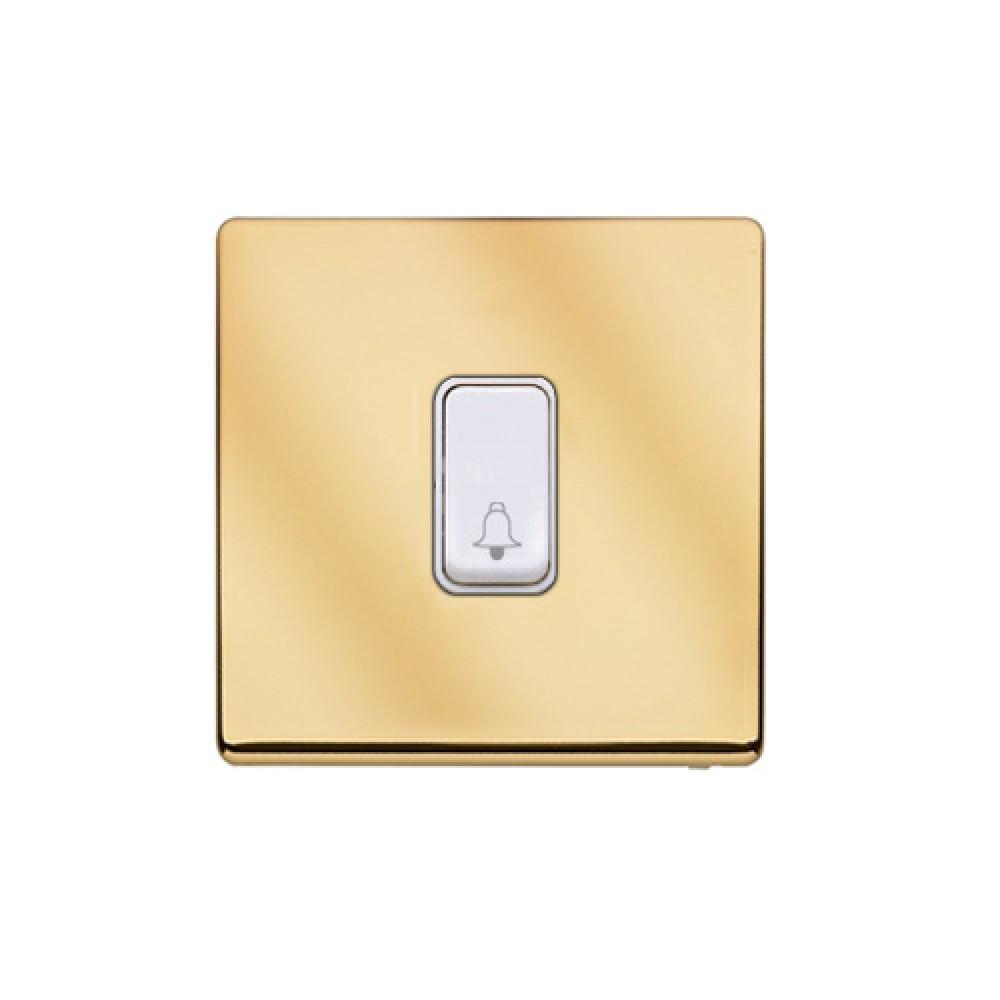 MK 雅栢 鋼面金色 塑料門鐘回彈按鈕(註:BELL符號) 10A *W