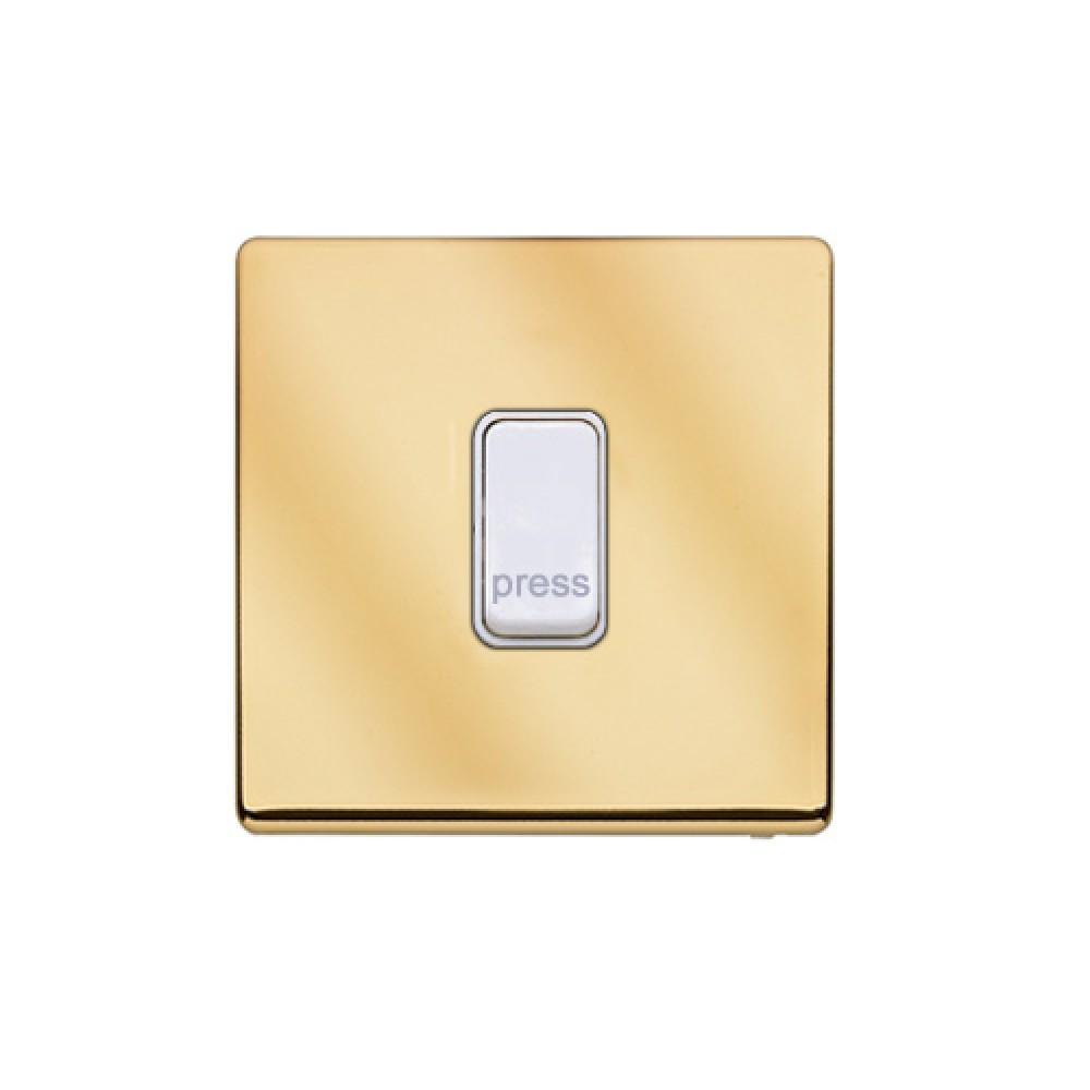 MK 雅栢 鋼面金色 塑料門鐘回彈按鈕(註:PRESS) 10A *W