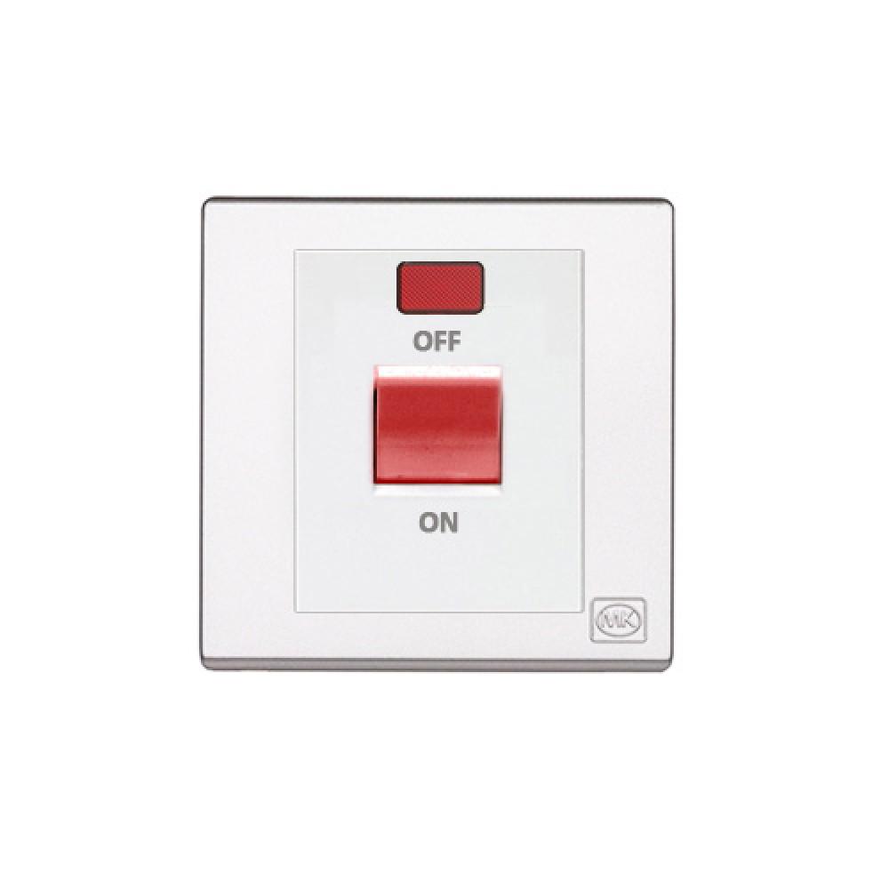 MK 雅韻 系列 白色 standard rocker 霓虹燈紅色開關掣 32A 1按鍵