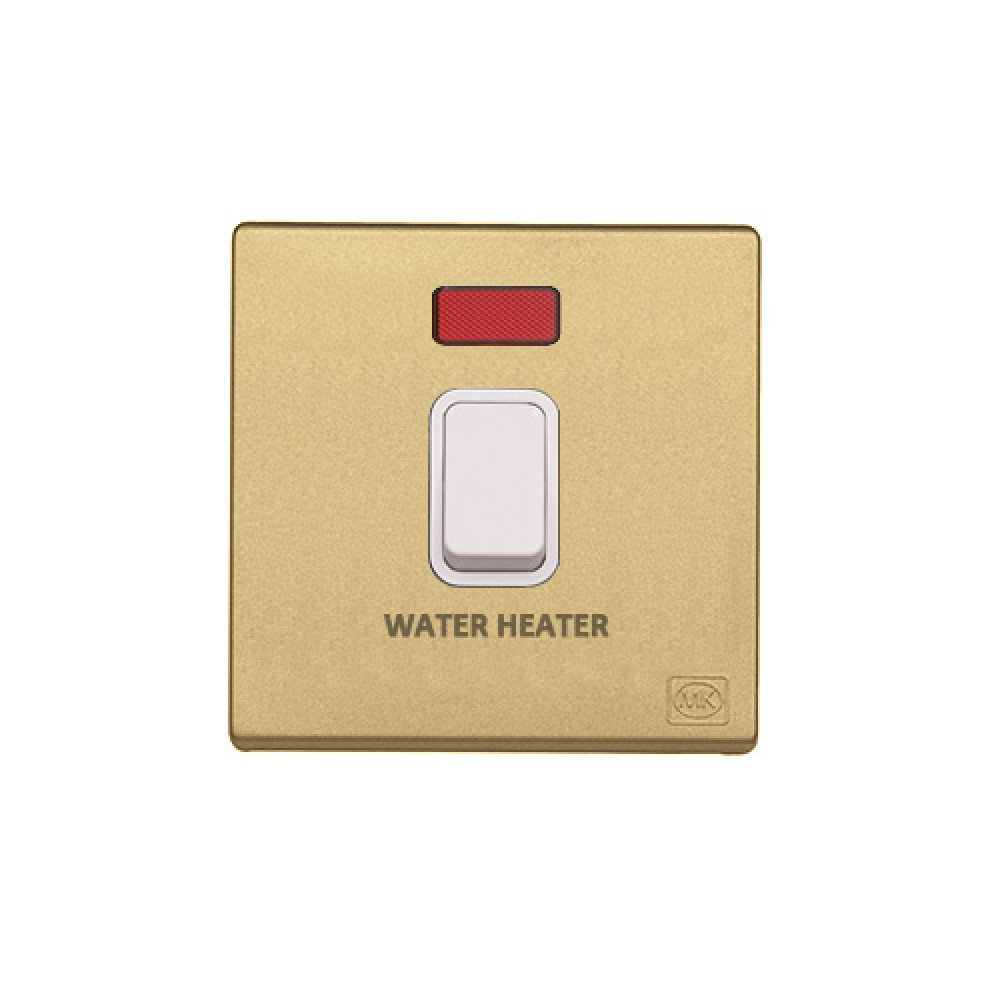 MK 雅韻 系列 香賓金 standard rocker 霓虹燈開關掣 20A (註 : 'WATER HEATER') 1按鍵 1路