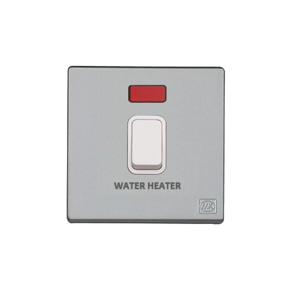 MK 雅韻 系列 鈦銀 standard rocker 霓虹燈開關掣 20A (註 : 'WATER HEATER') 1按鍵 1路