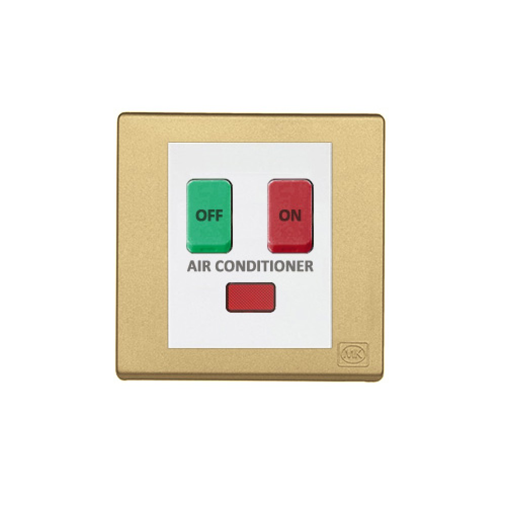 MK 雅韻 系列 香賓金 standard rocker 霓虹燈開關掣(註: 'AIR CONDITIONER') 10A 2按鍵 1路