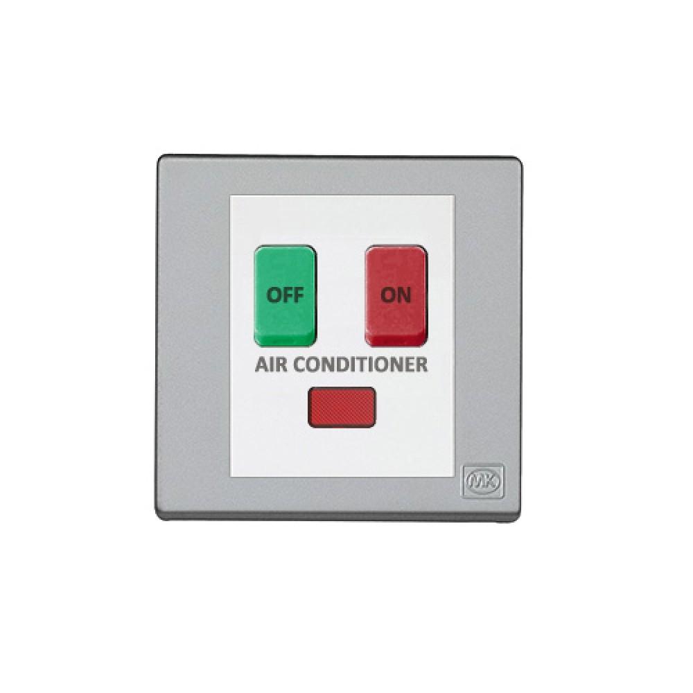 MK 雅韻 系列 鈦銀 standard rocker 霓虹燈開關掣(註: 'AIR CONDITIONER') 10A 2按鍵 1路