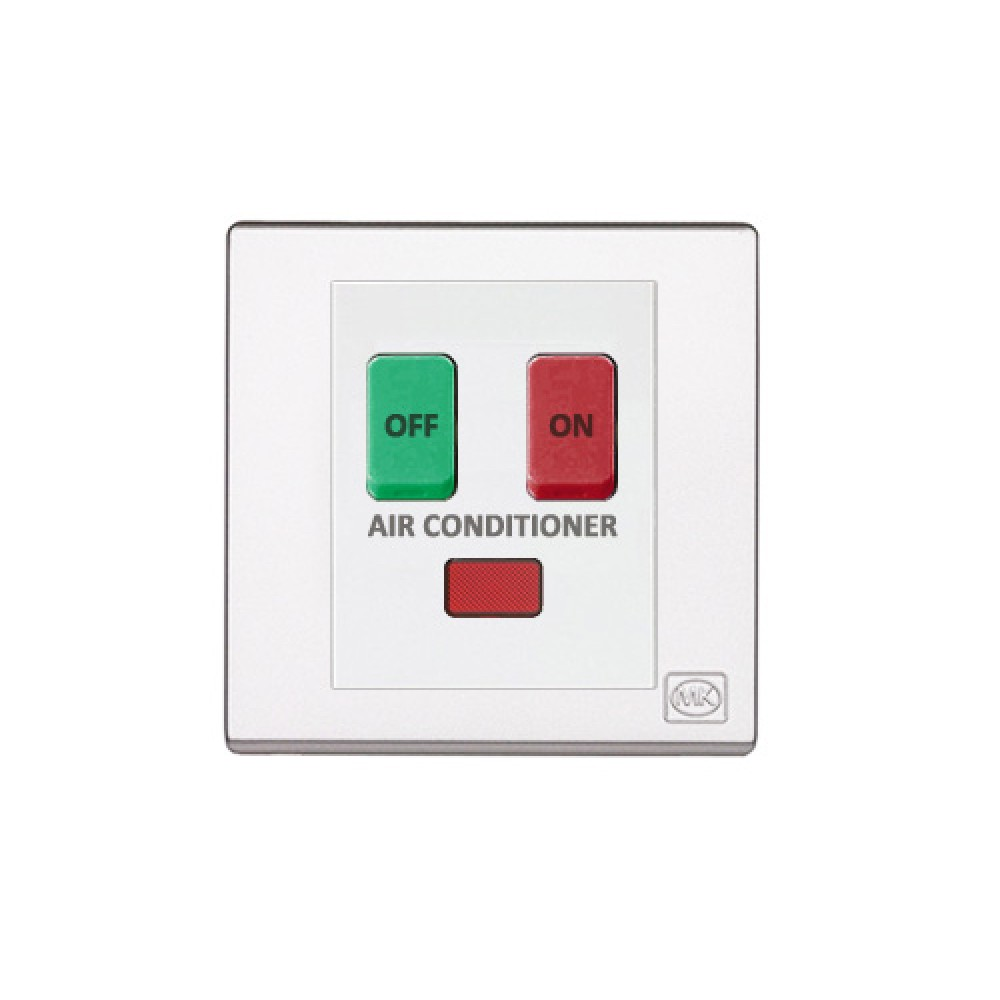 MK 雅韻 系列 白色 standard rocker 霓虹燈開關掣(註: 'AIR CONDITIONER') 10A 2按鍵 1路