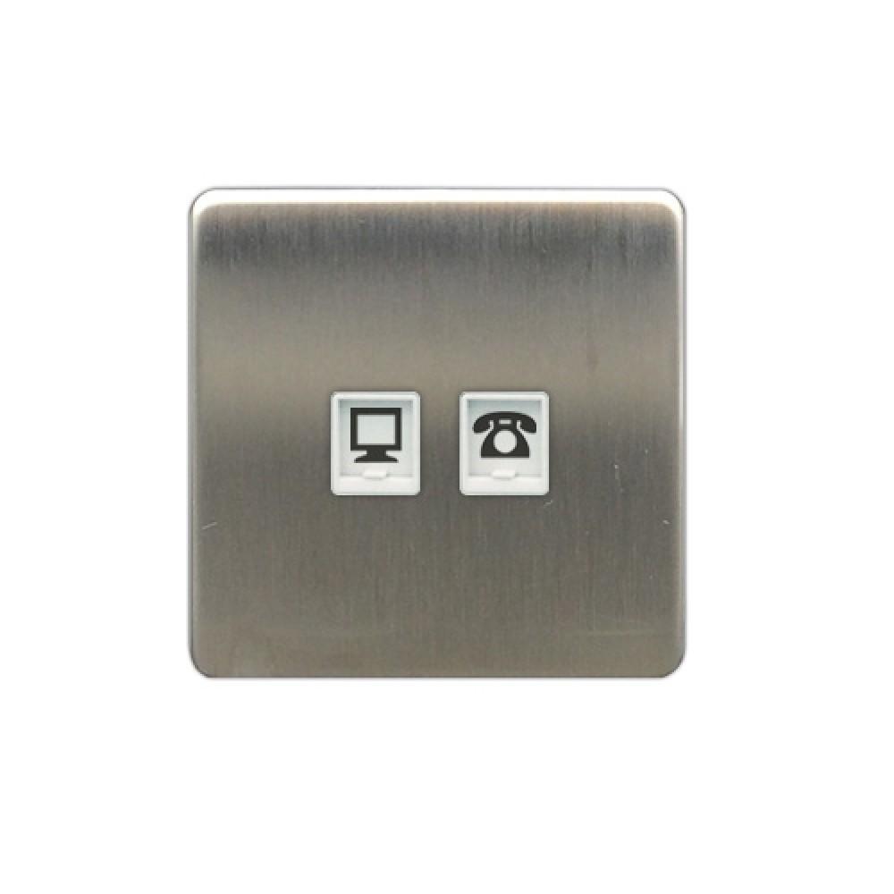 豐葉 Metalica 沙鋼 電話 + 數據 插座 2位