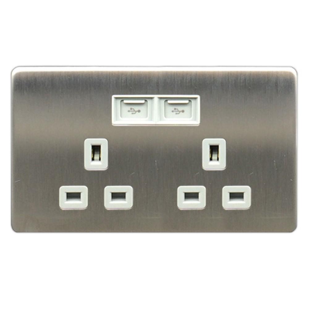 豐葉 Metalica 沙鋼 插座 2位 13A + USB 接口
