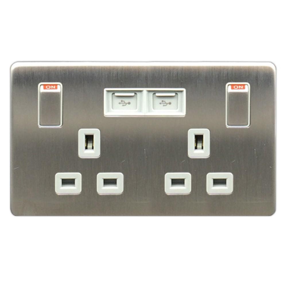 豐葉 Metalica 沙鋼 插座 有掣 2位 13A+ USB 接口