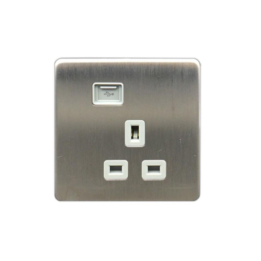 豐葉 Metalica 沙鋼 插座 1位 13A + USB 接口