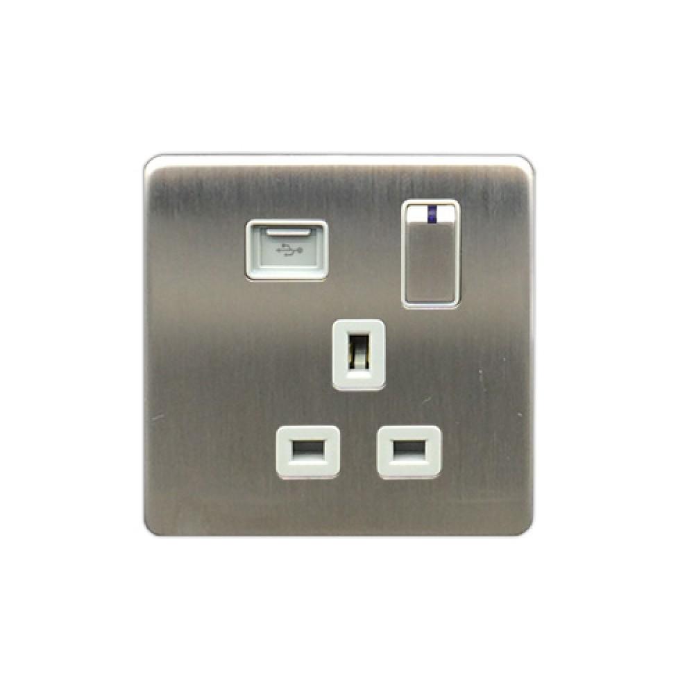 豐葉 Metalica 沙鋼 插座 有掣 1位 13A USB 接口