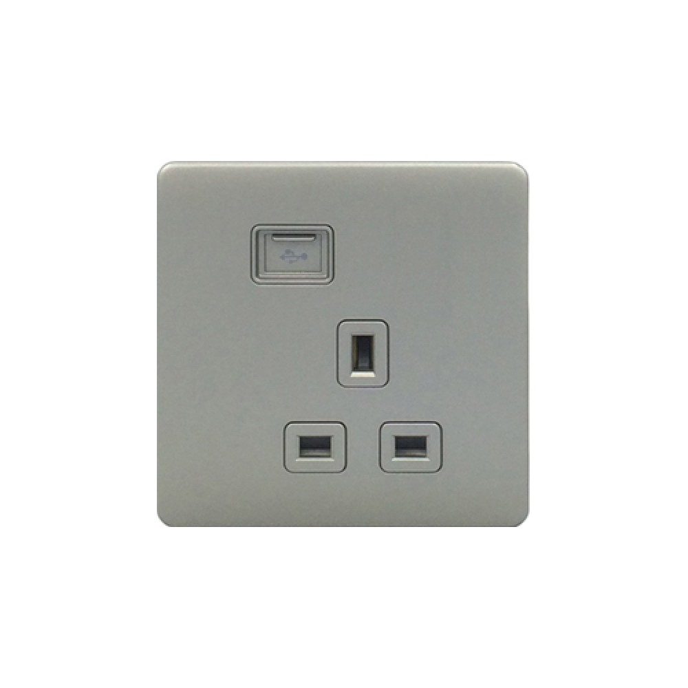 豐葉 Premio 炭灰色 插座 1位 13A + USB 接口