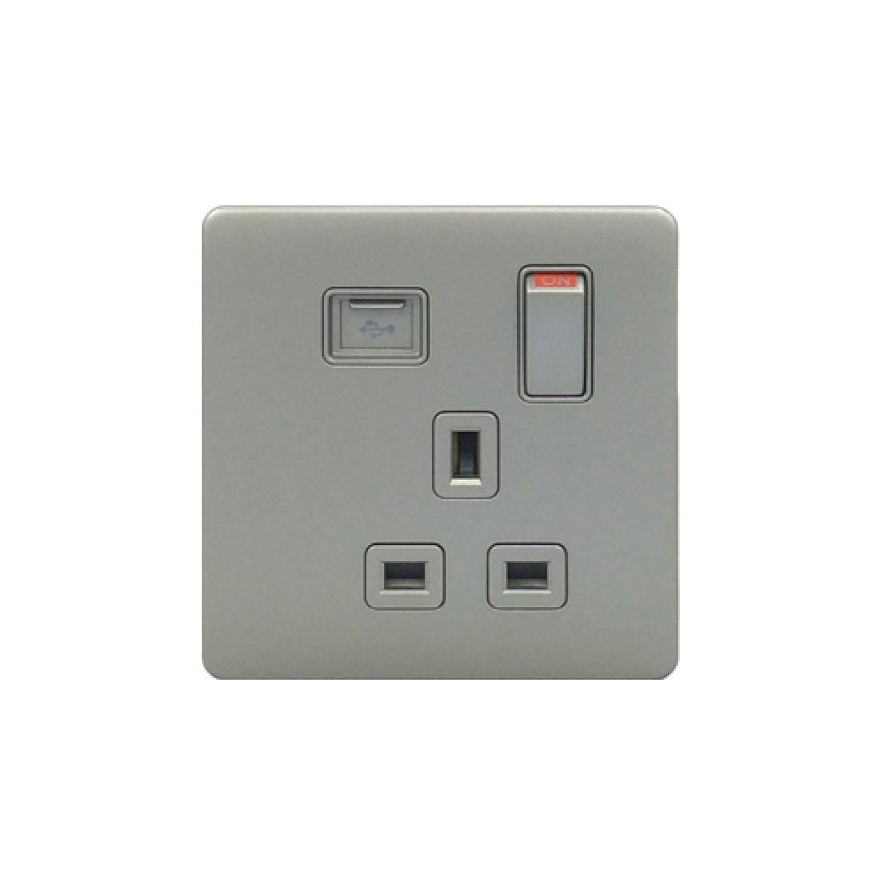 豐葉 Premio 炭灰色  插座 有掣 1位 13A USB 接口
