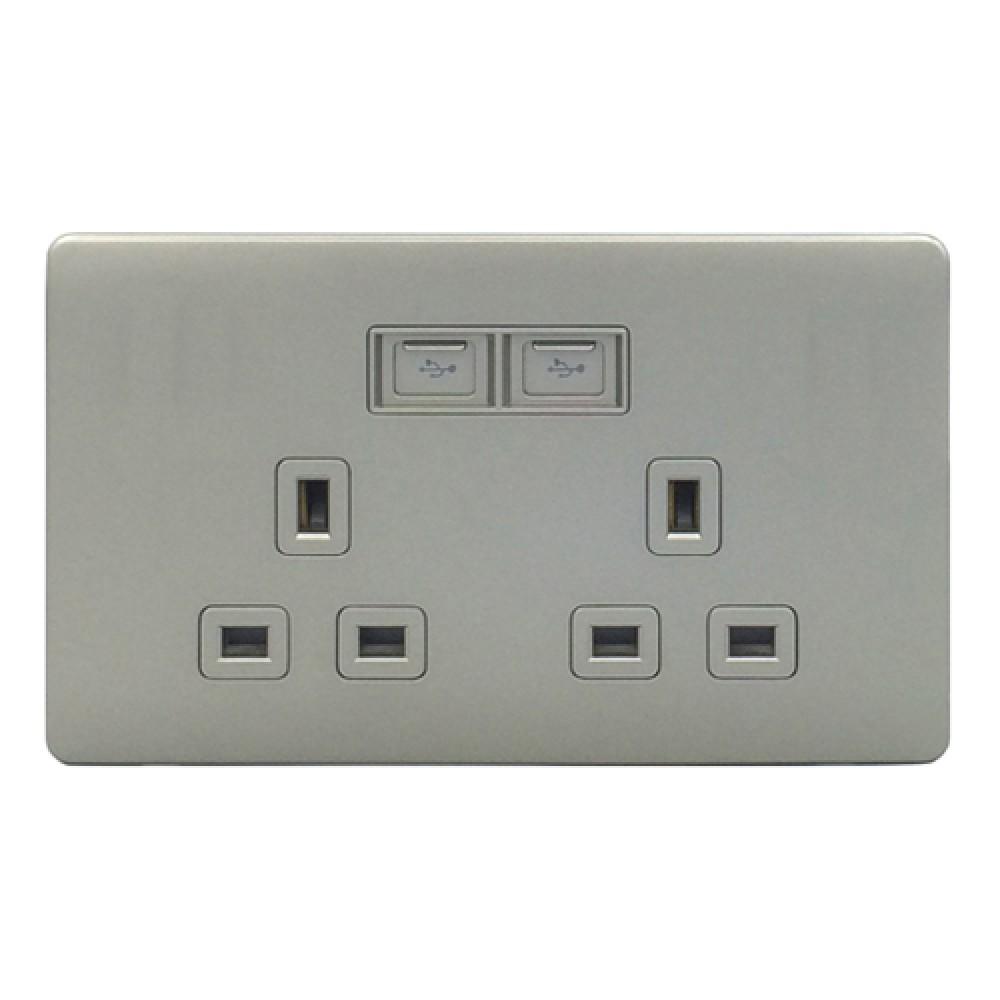 豐葉 Premio 炭灰色 插座 2位 13A + USB 接口