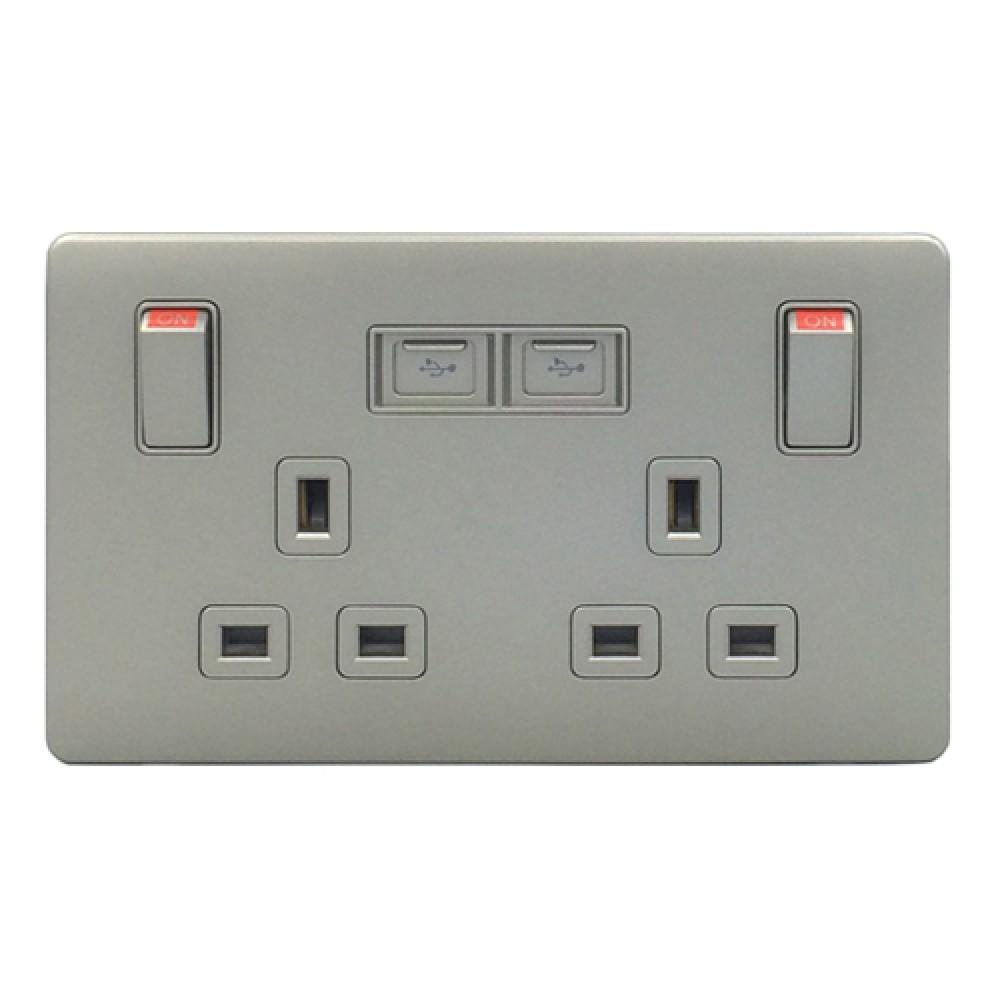 豐葉 Premio 炭灰色 插座有掣 2位 13A + USB 接口