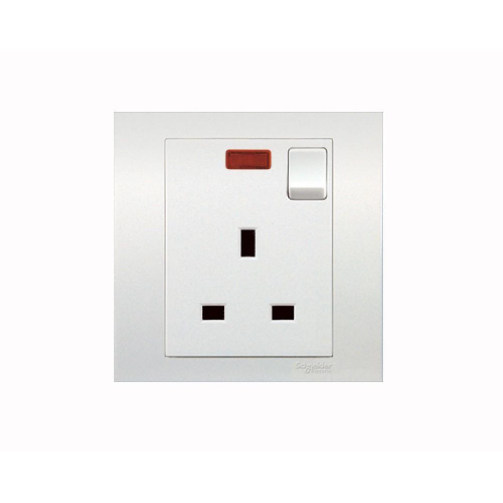 施耐德 元雅 白色 13A 1位 插座 有掣 有燈