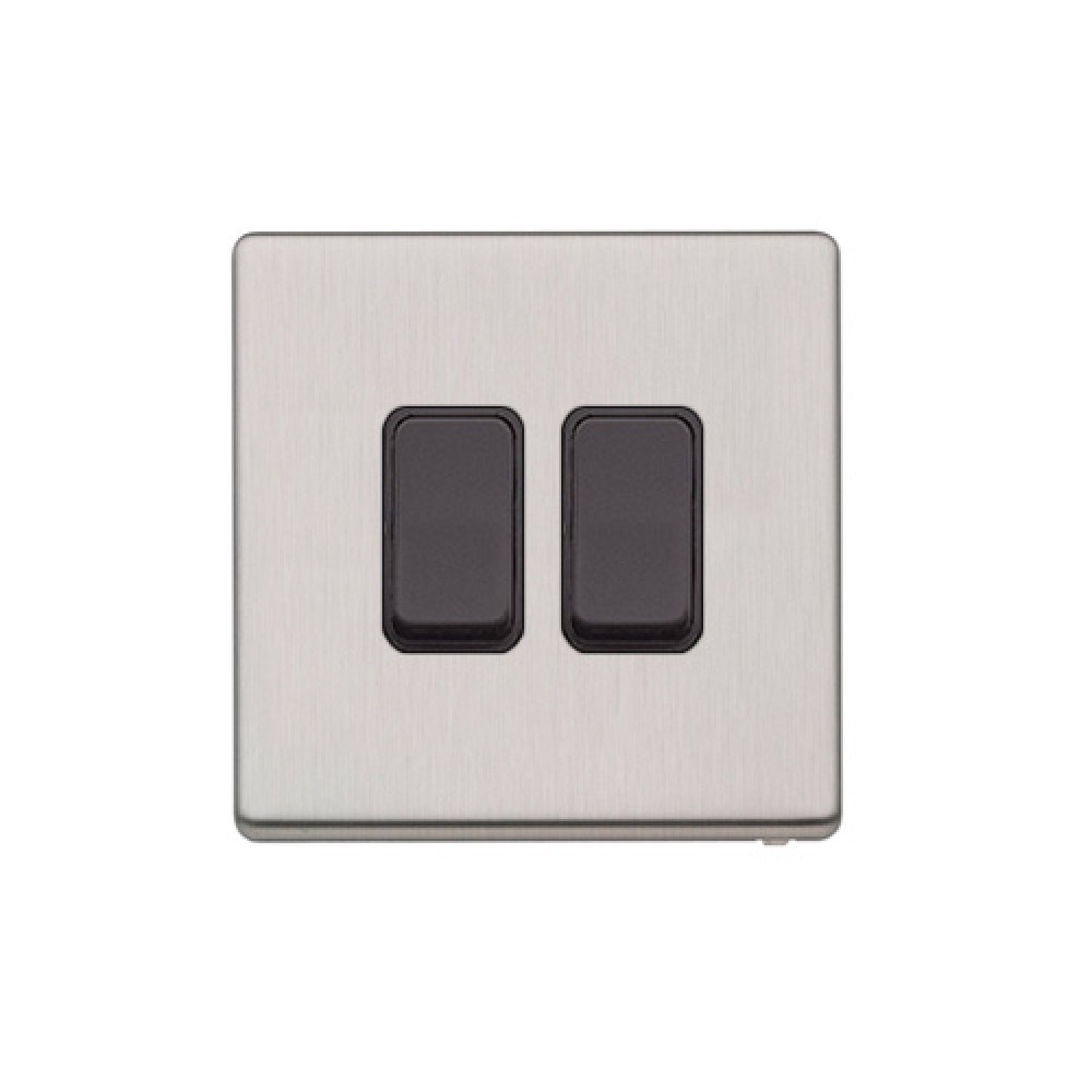 Mk Switch 2 Way Retractive Aspect Brushed Stainless Steel Plastic 10a 2way 2gang B